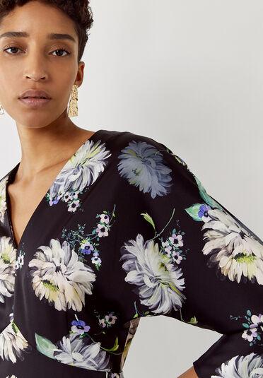 Warehouse, Floral Satin V Neck Midi Dress Multi 1