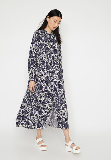 Warehouse, FLORAL TIERED MAXI DRESS Blue Pattern 1