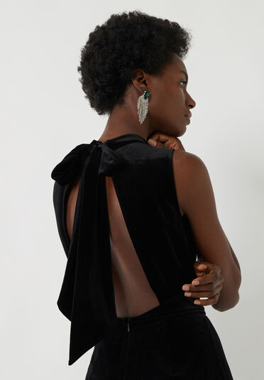 Warehouse, Velvet Culotte Jumpsuit Black 1