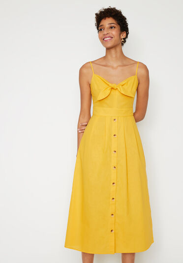 Warehouse, LINEN MIX TIE FRONT MIDI DRESS Yellow 2