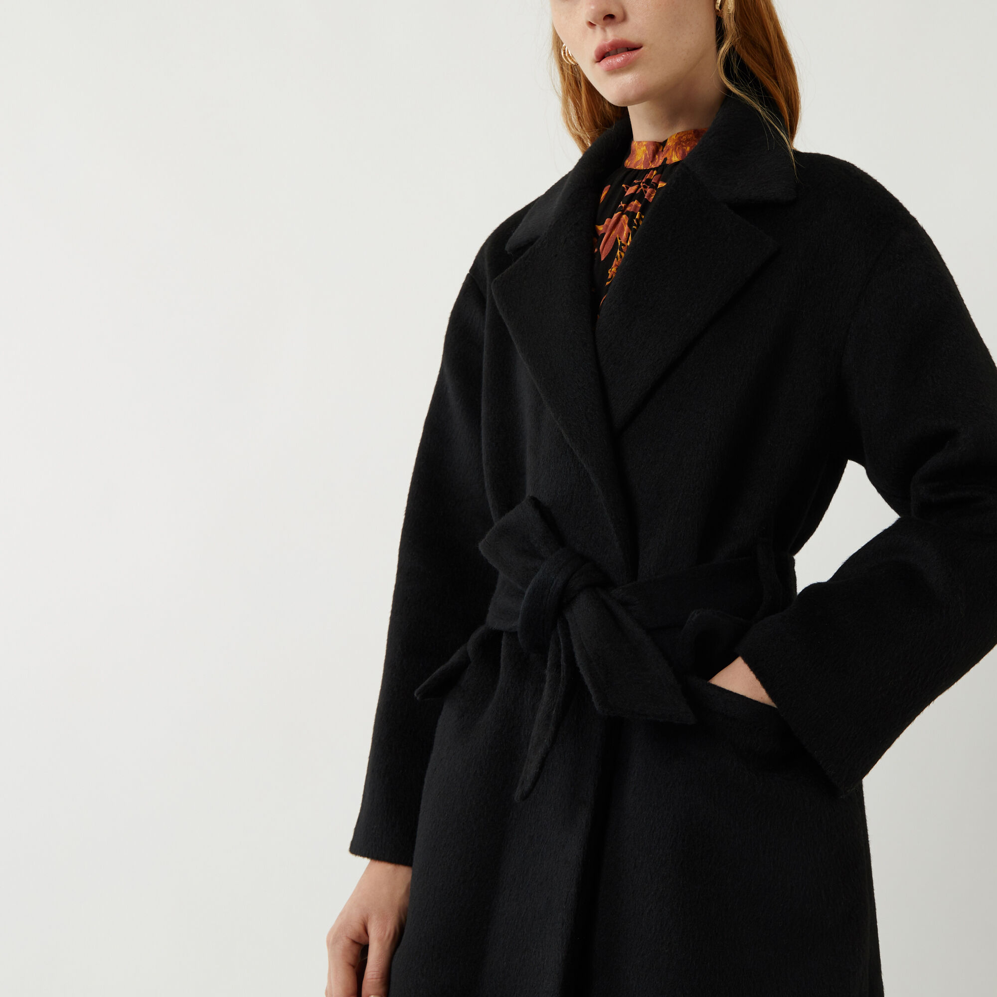 Warehouse, TEXTURED BELTED WRAP COAT Black 1