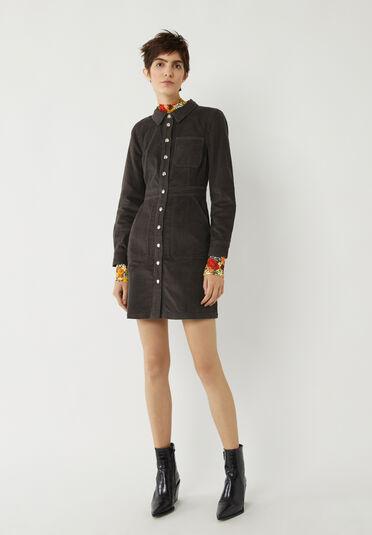 Warehouse, CORD SNAP FRONT DRESS Dark Grey 2