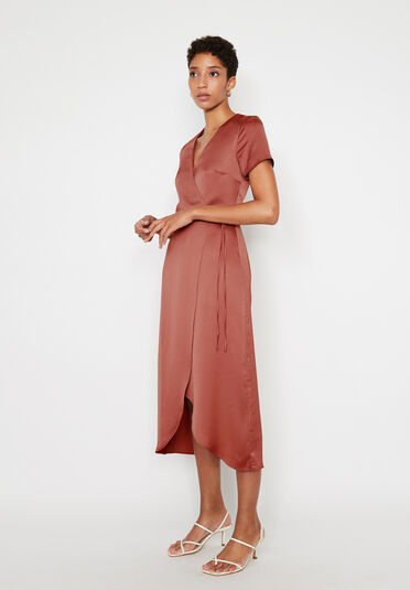 Warehouse, SATIN MIDI WRAP DRESS Light Pink 1