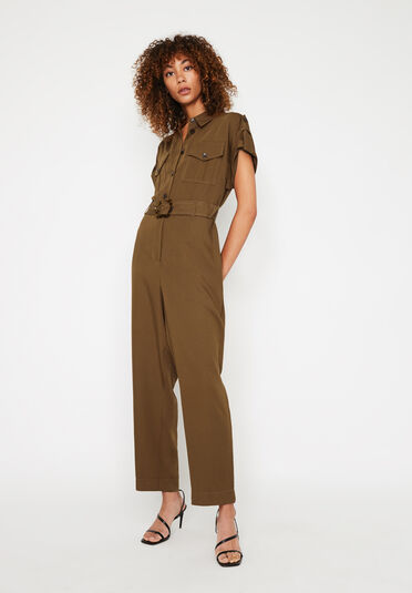 Warehouse, UTILITY JUMPSUIT Brown 1