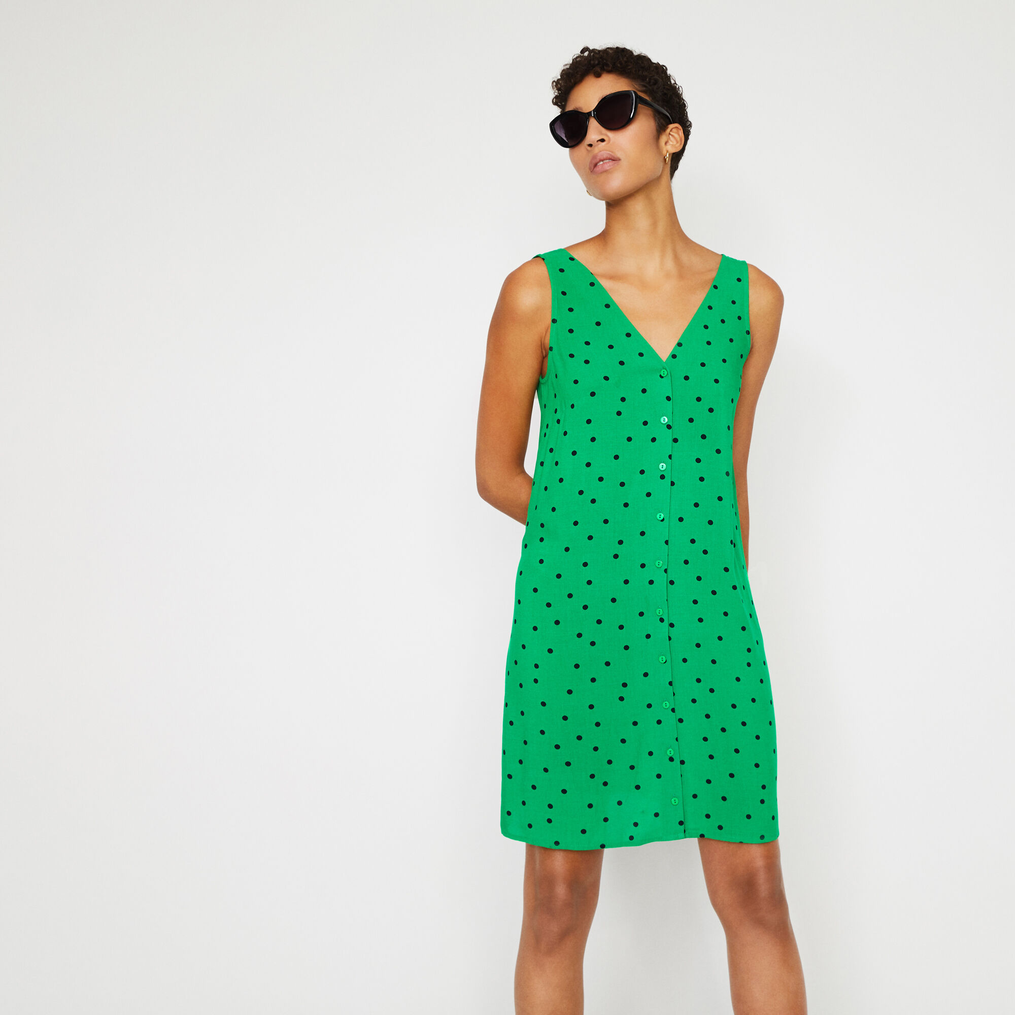 Warehouse, POLKA DOT TIE BACK MINI DRESS Green Print 1