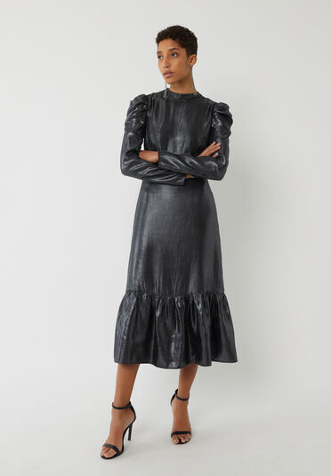 Warehouse, METALLIC RUFFLE HEM MIDI DRESS Black 2