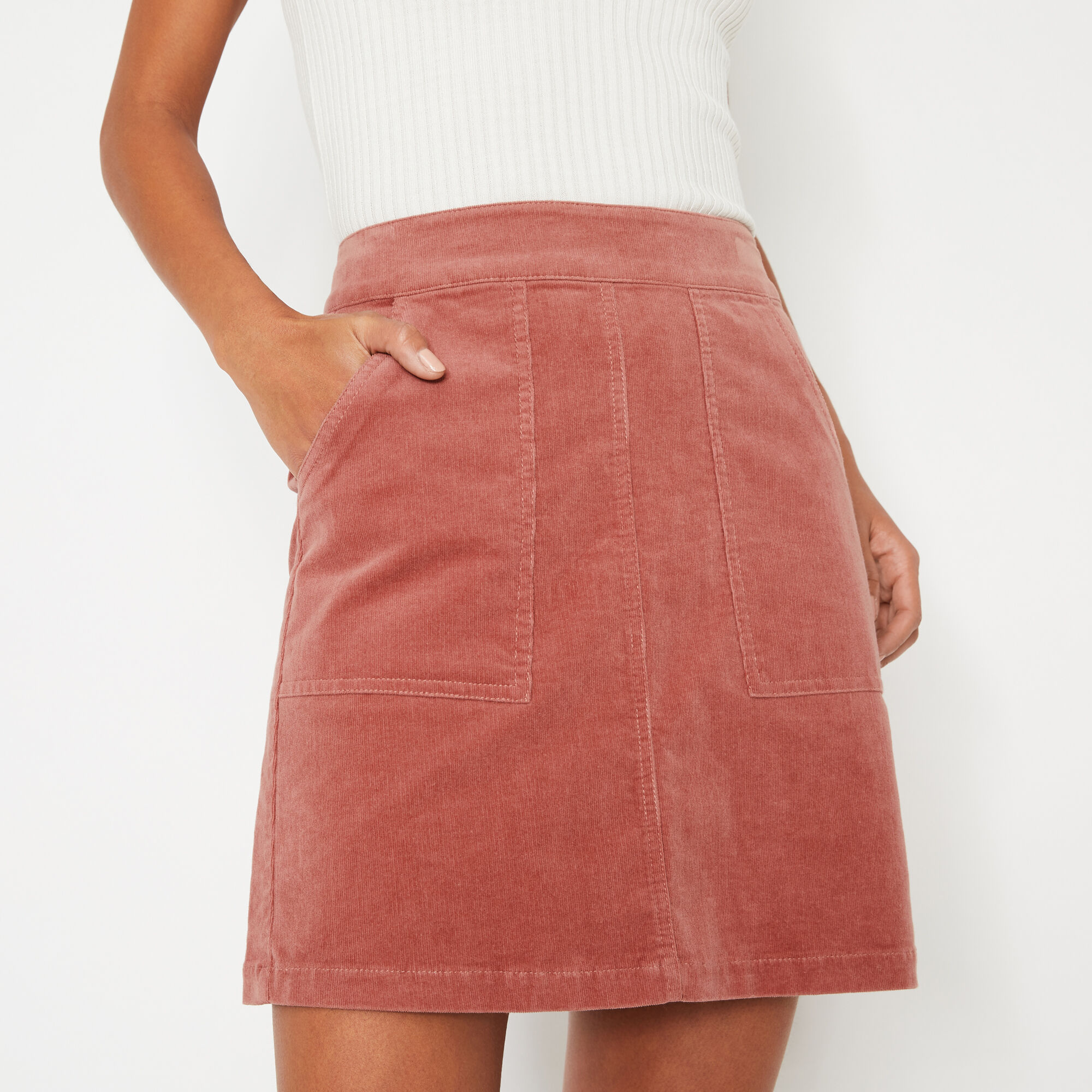 Warehouse, CORD PATCH POCKET MINI SKIRT Light Pink 1