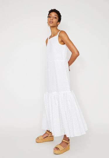 Warehouse, TIERED BRODERIE MAXI DRESS White 1