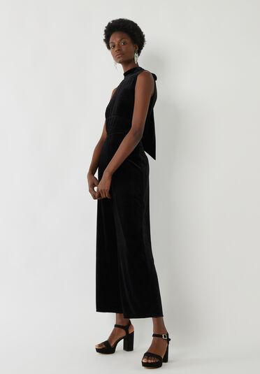 Warehouse, Velvet Culotte Jumpsuit Black 2