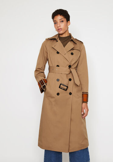 Warehouse, CHECK LINED TRENCH COAT Stone 1