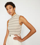 Warehouse, STITCH STRIPE FUNNEL NECK TOP Beige 1