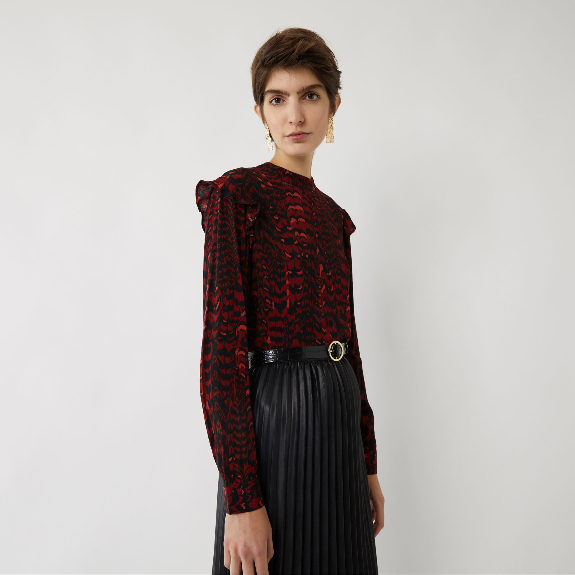 Warehouse, RED FEATHER LONG SLEEVE TOP Red Pattern 1