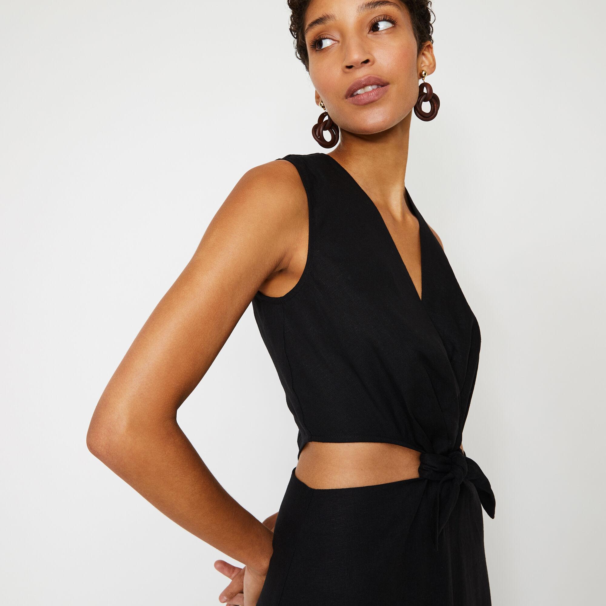 Warehouse, LINEN MIX CUT OUT MAXI DRESS Black 1