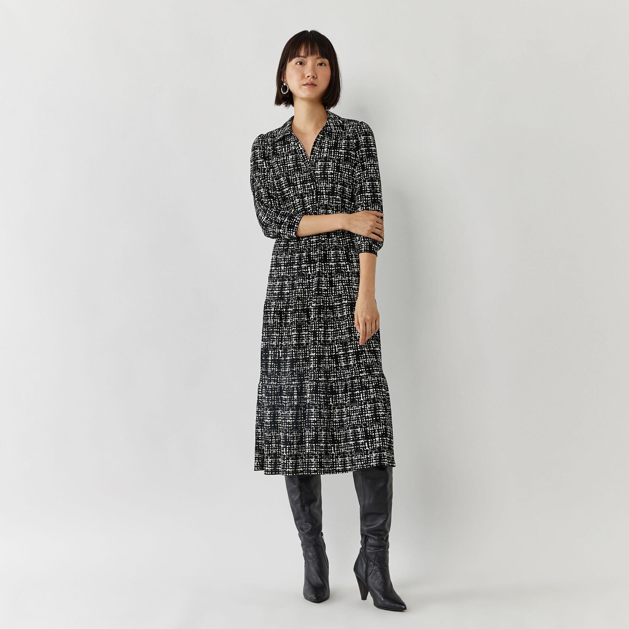 Warehouse, BRUSHED CHECK SHIRT DRESS Black Pattern 1
