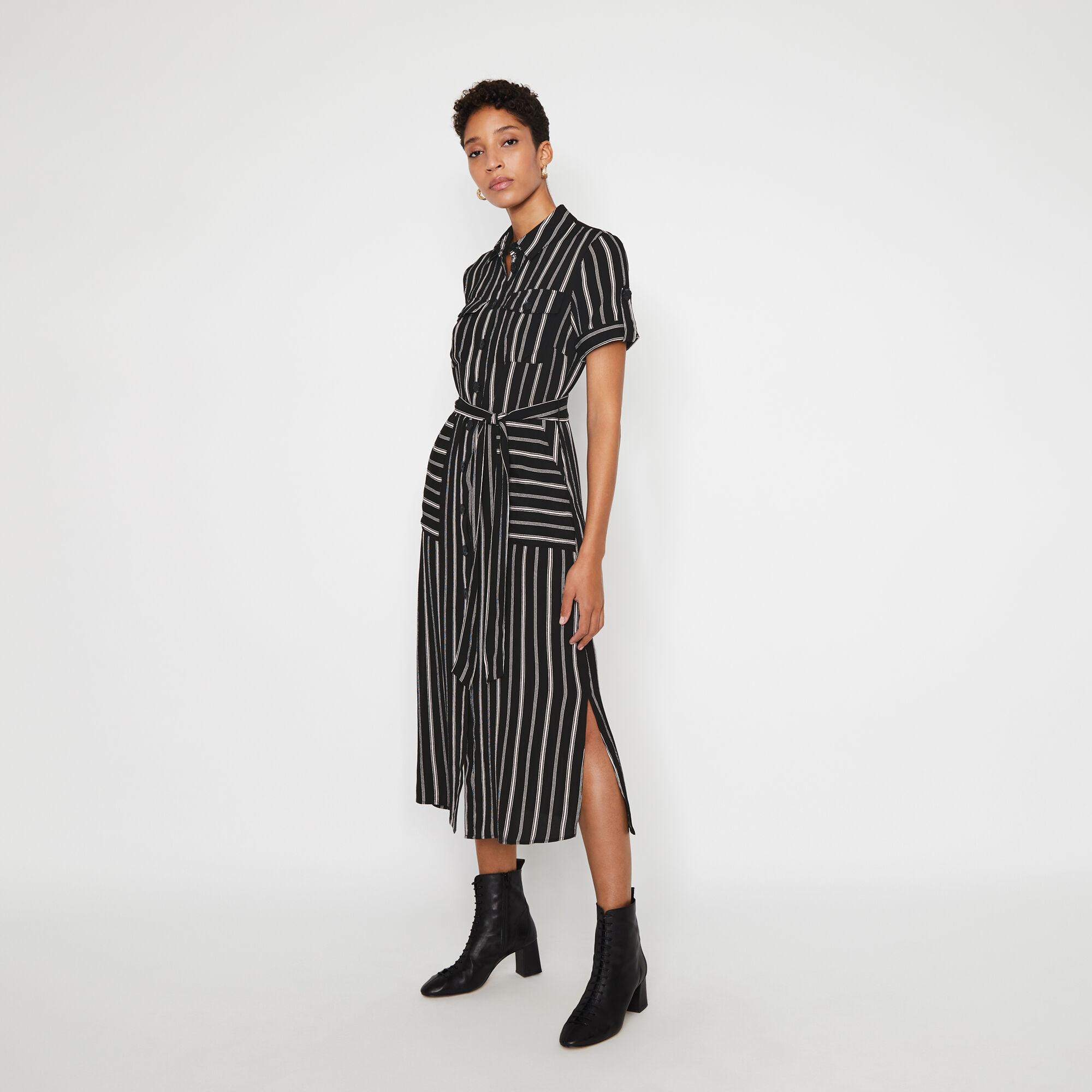 Warehouse, STRIPED UTILITY SHIRT DRESS Black Stripe 1