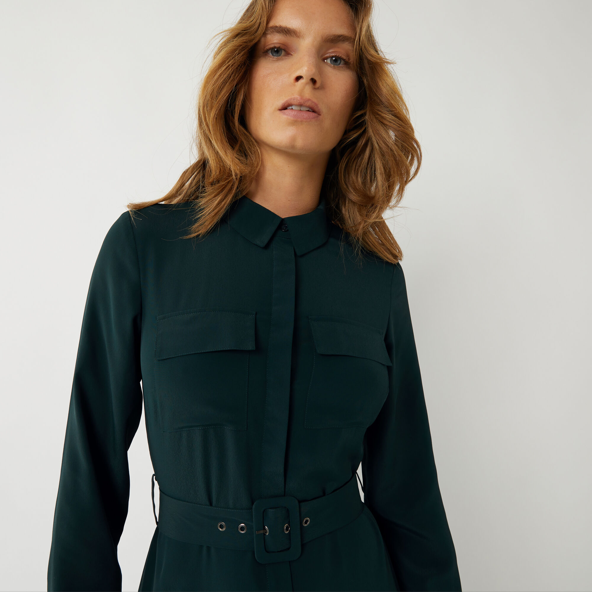 Warehouse, BELTED MIDI SHIRT DRESS Dark Green 1