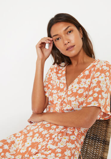 Warehouse, DAISY TIERED MAXI DRESS Orange 1