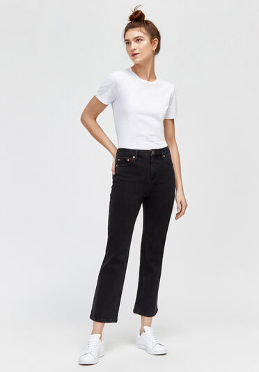 Warehouse, CROPPED KICK FLARE Black 1