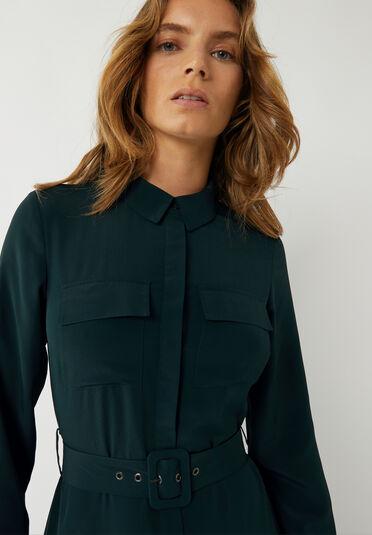 Warehouse, BELTED MIDI SHIRT DRESS Dark Green 1
