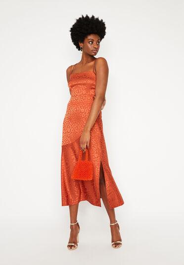 Warehouse, LEOPARD CAMI MAXI DRESS Orange 1
