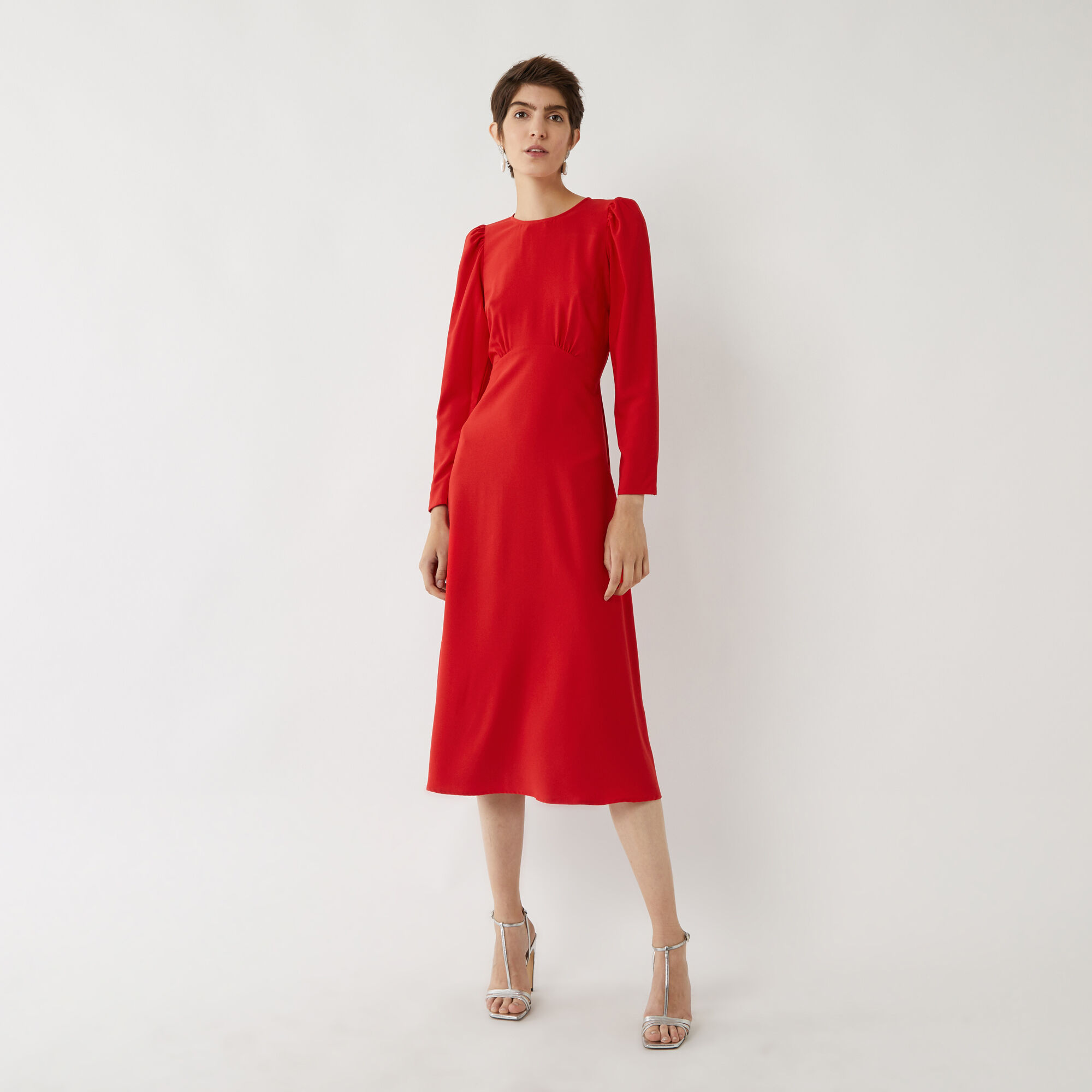 Warehouse, LONG PUFF SLEEVE MIDI DRESS Bright Red 1
