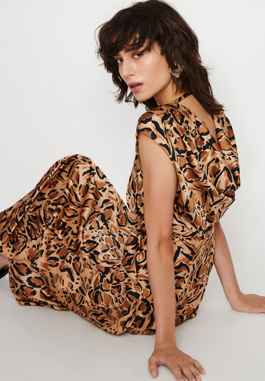 Warehouse, LEOPARD COWL BACK DRESS Animal 1