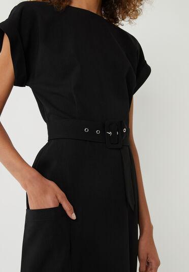 Warehouse, BUTTON SOFT MIDI SHIFT DRESS Black 2