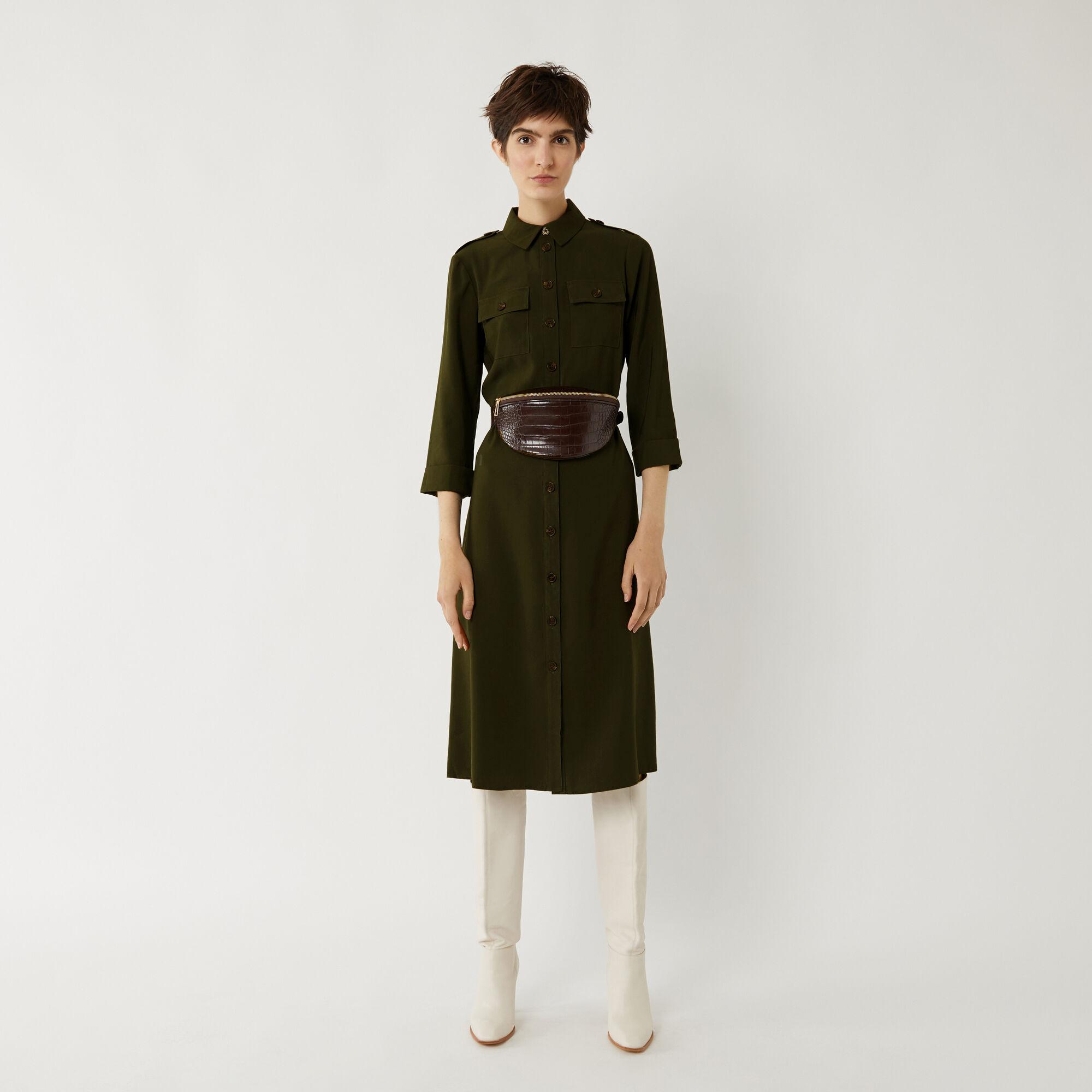 Warehouse, UTILITY MIDI SHIRT DRESS Khaki 1