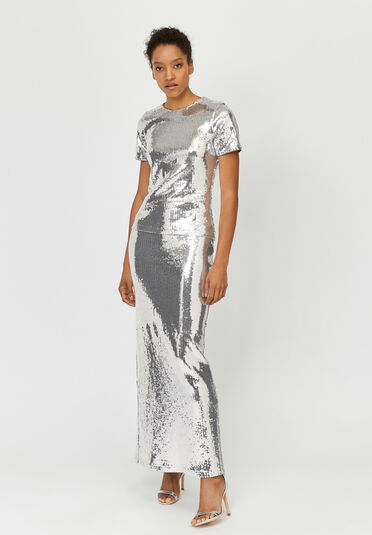 Warehouse, ASHISH SEQUIN MAXI SKIRT Silver Colour 1