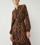 Warehouse, TIGER TIERED MIDI SHIRT DRESS Brown Print 4