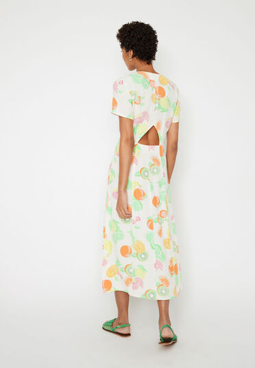 Warehouse, FRUIT SALAD CUT OUT MIDI DRESS Neutral  Print 2