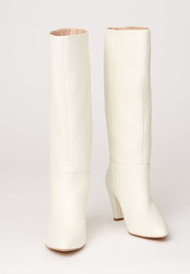 Warehouse, LEATHER CALF BOOTS White 1
