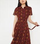 Warehouse, SNAKE PRINT MIDI SHIRT DRESS Orange 4