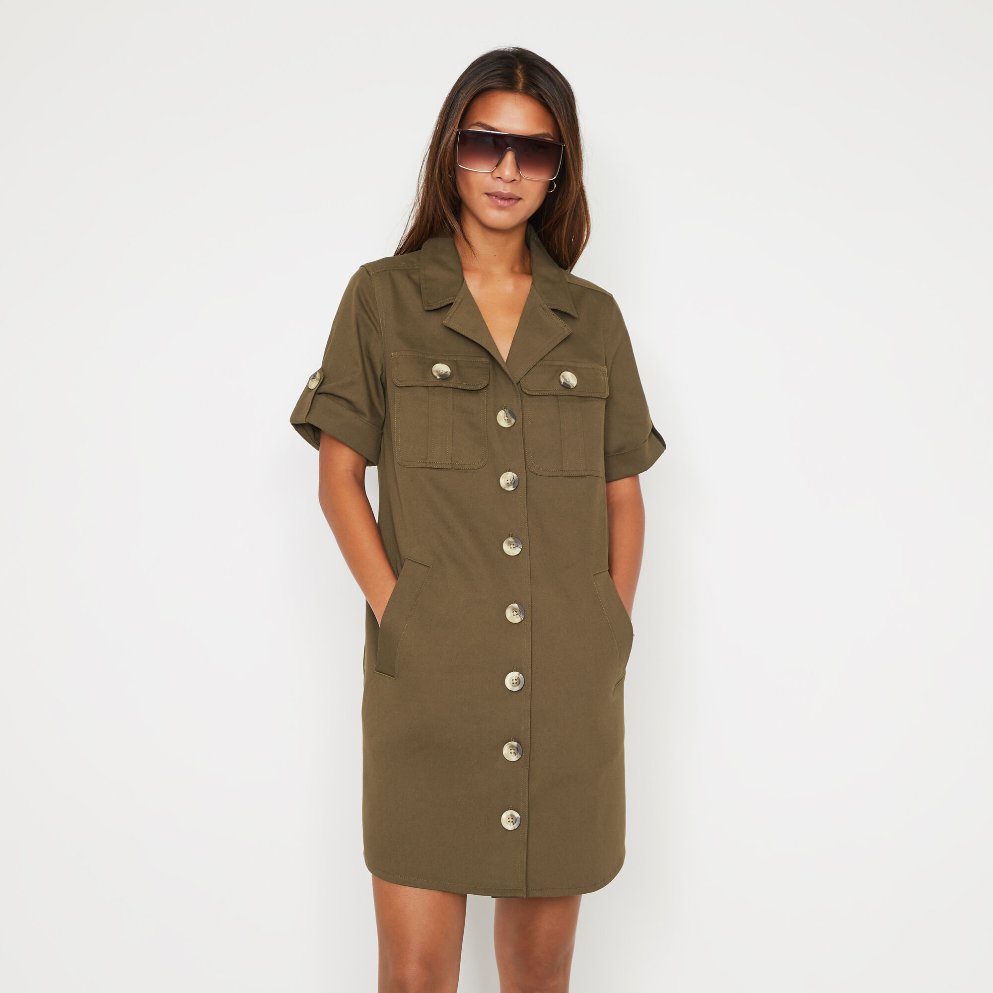 Warehouse, UTILITY MINI SHIRT DRESS Khaki 1