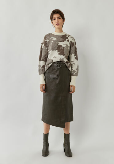 Warehouse, BELTED LEATHER MIDI SKIRT Khaki 2