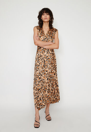 Warehouse, LEOPARD COWL BACK DRESS Animal 2