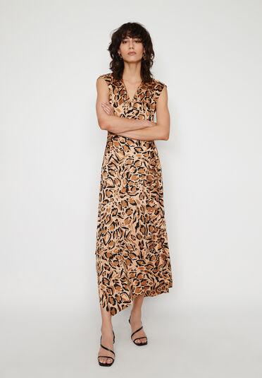 Warehouse, LEOPARD COWL BACK DRESS Animal 2