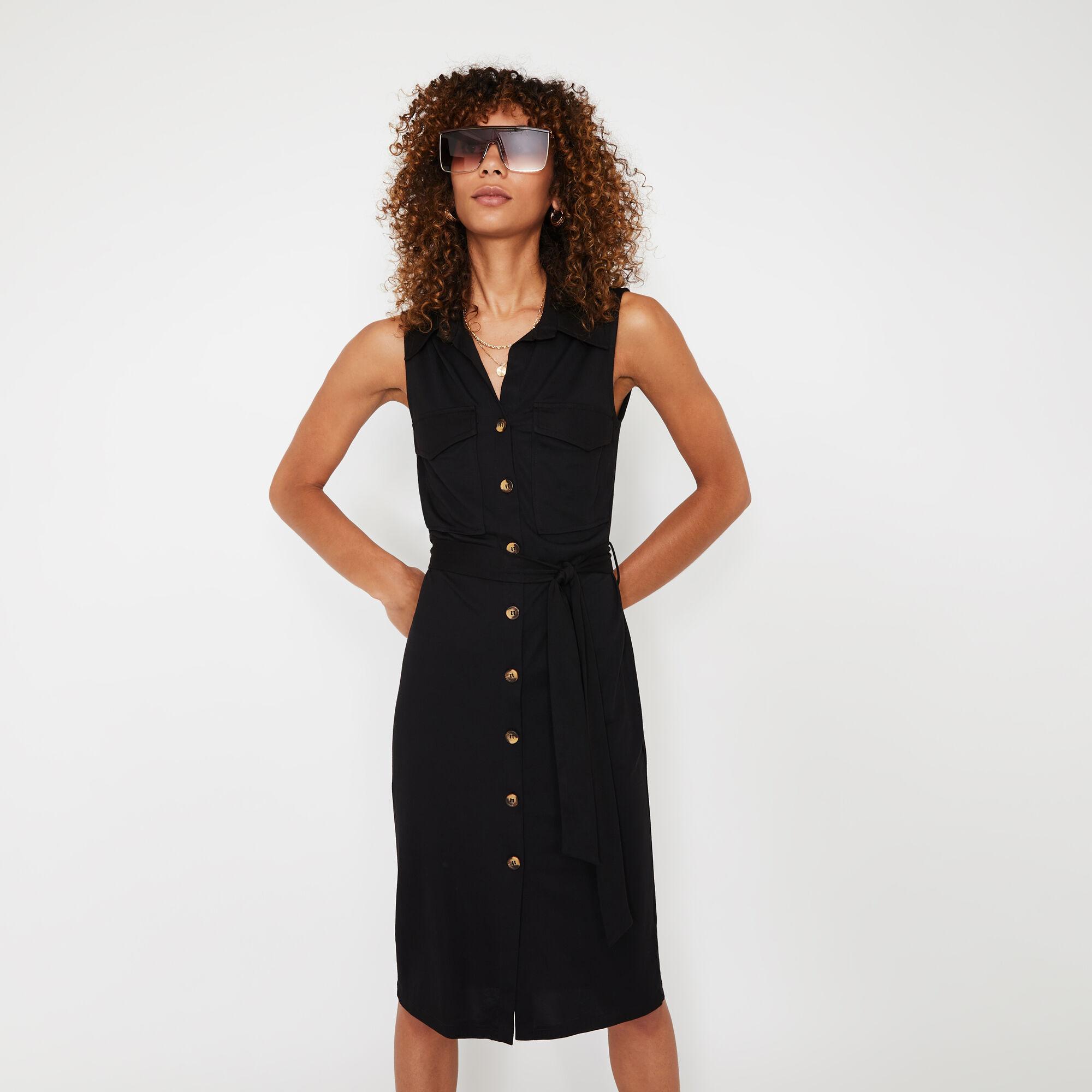 Warehouse, UTILITY PIQUE SHIRT DRESS Black 1