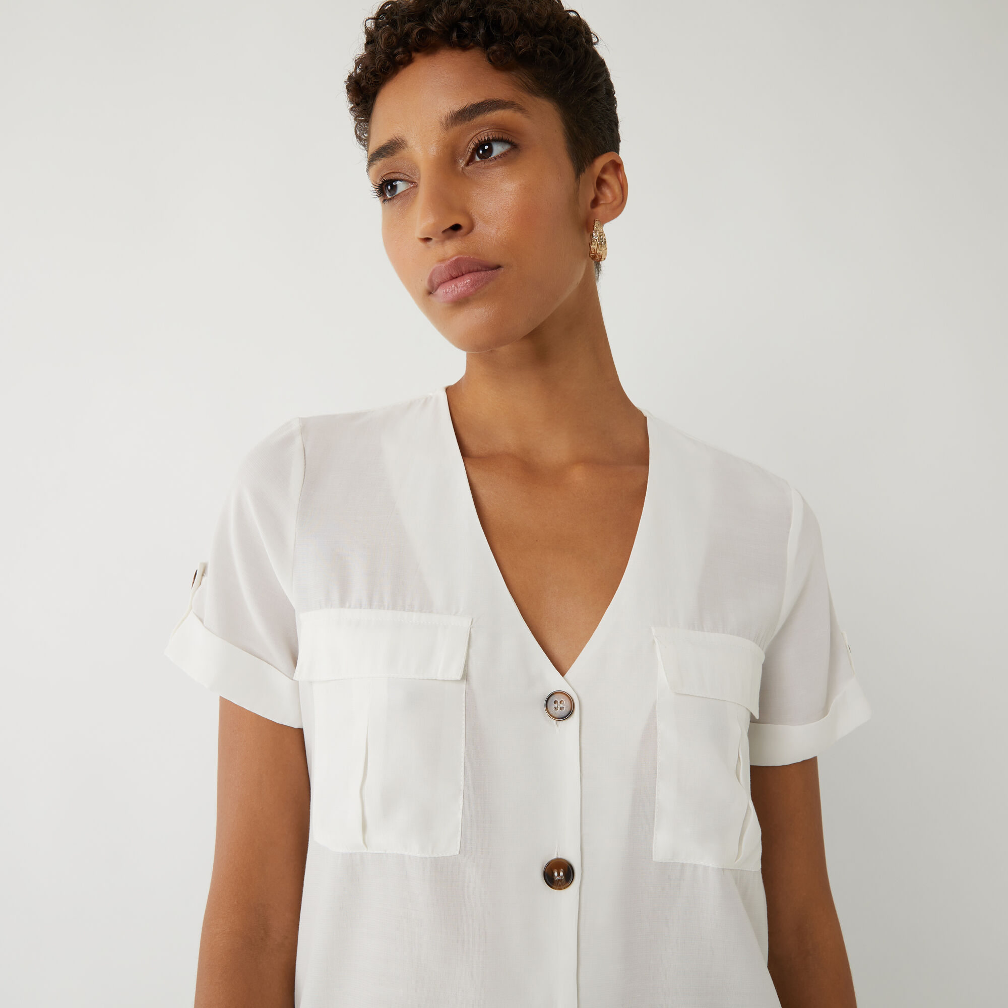 Warehouse, UTILITY POCKET FRONT TOP Cream 1