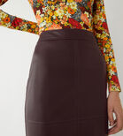 Warehouse, FAUX LEATHER PENCIL SKIRT Berry 4