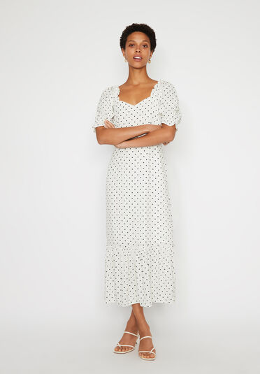Warehouse, POLKA DOT MIDI PRAIRIE DRESS Neutral  Print 1