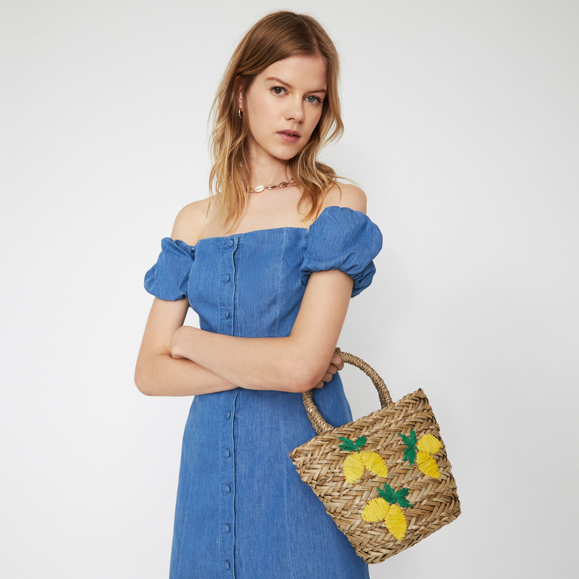 Warehouse, LEMONS STRAW BUCKET BAG Beige 1