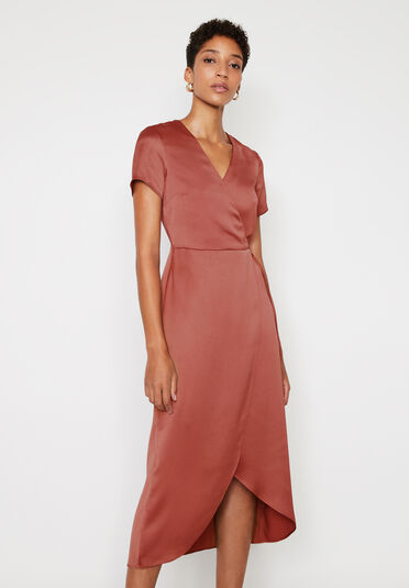 Warehouse, SATIN MIDI WRAP DRESS Light Pink 2
