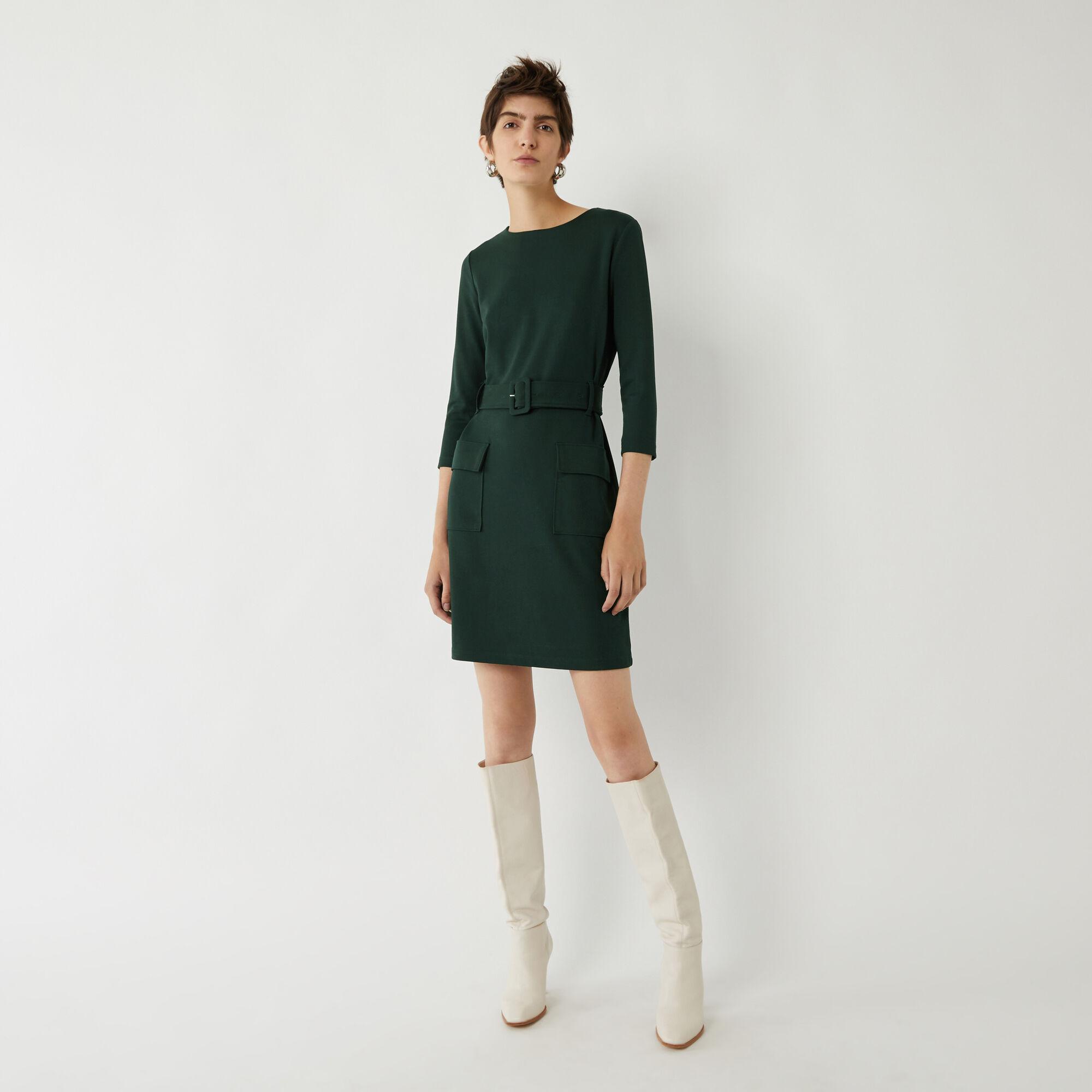 Warehouse, UTILITY BELTED SHIFT DRESS Dark Green 1