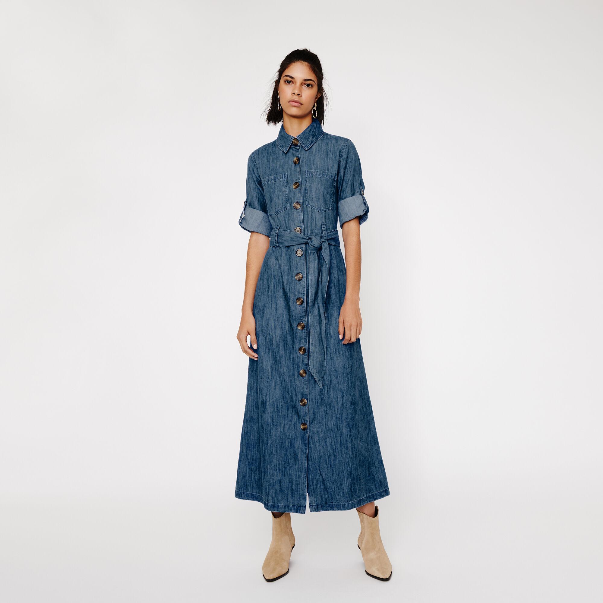 Warehouse, DENIM MAXI SHIRT DRESS Light Wash Denim 1
