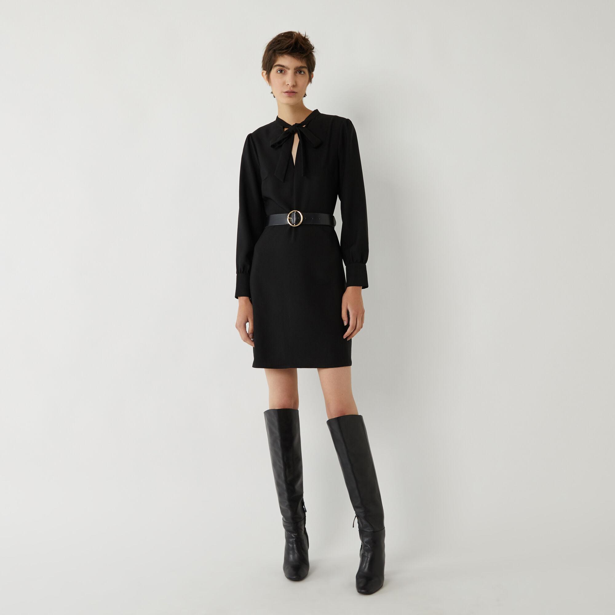 Warehouse, PUSSY BOW DRESS Black 1