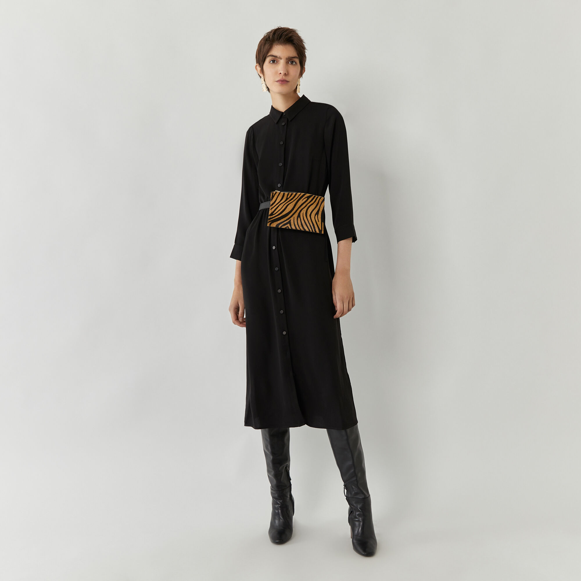 Warehouse, MIDI SHIRT DRESS Black 1