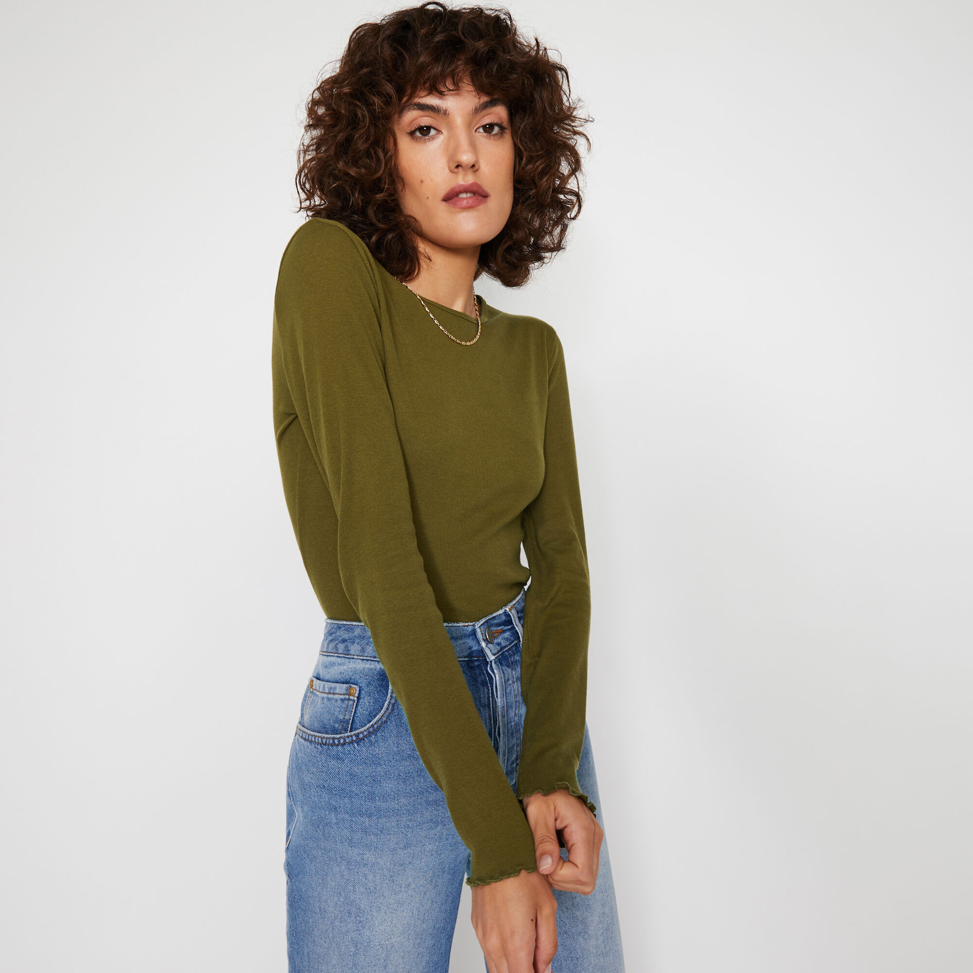 Warehouse, RIB LETTUCE LONG SLEEVE TOP Khaki 1