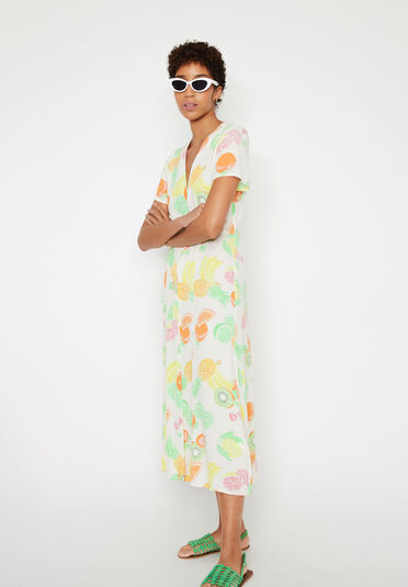 Warehouse, FRUIT SALAD CUT OUT MIDI DRESS Neutral  Print 1