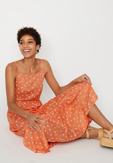 Warehouse, SPOT TIERED MAXI DRESS Coral 1